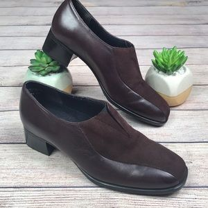 Munro Burgundy/wine slip on heel shoes -  7W